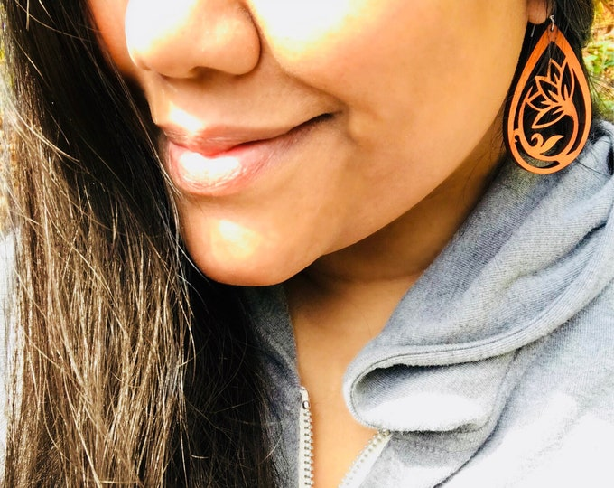 Featured listing image: Wood Lotus Earrings - Ecofriendly Fashion