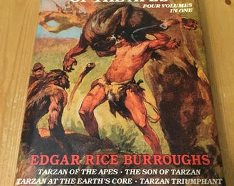 Tarzan of the Apes - Four Volumes in One by Edgar Rice Burroughs Vintage Hardcover Book