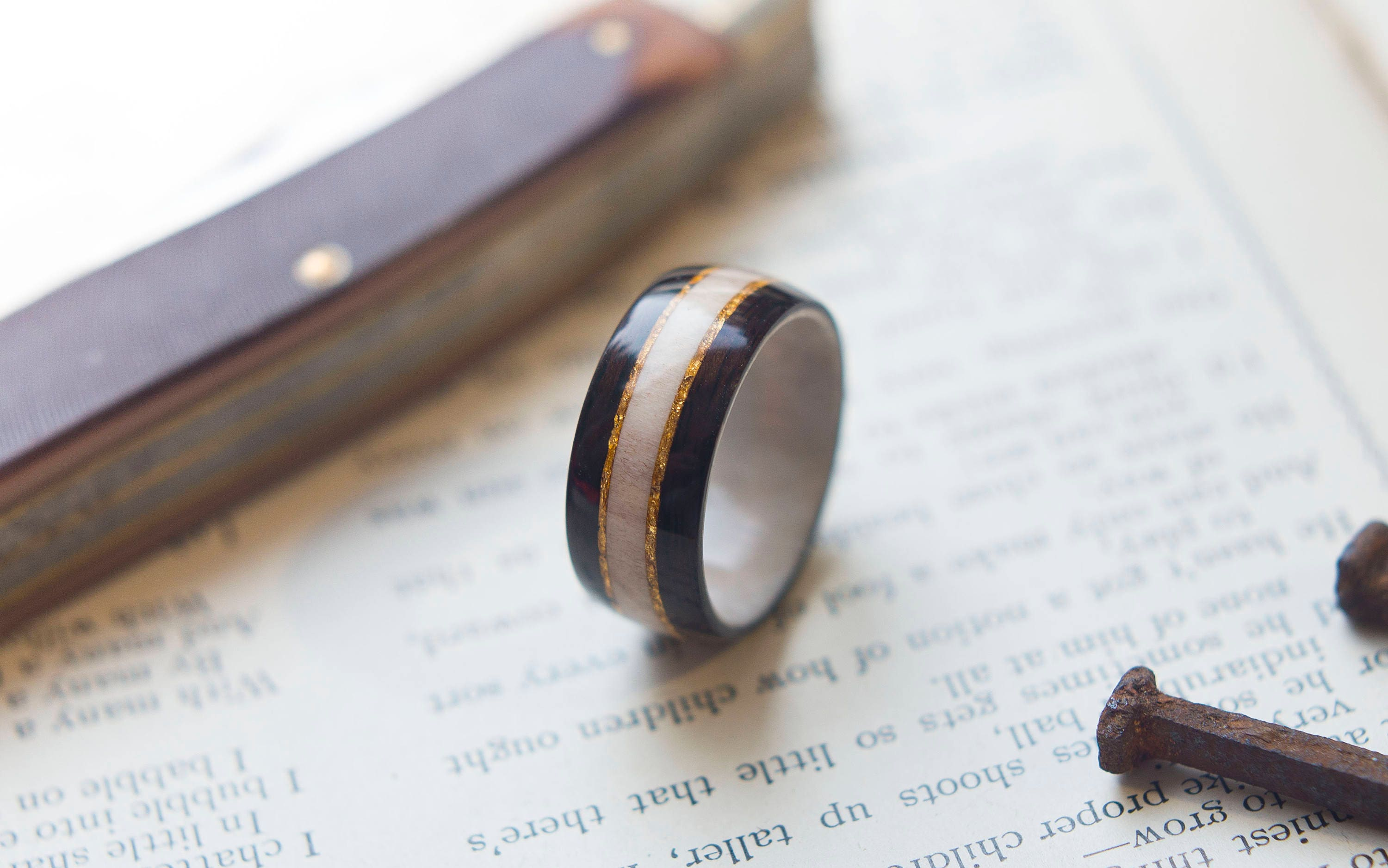 Antler Wedding Band with Ebony and Gold flake inlay Mens Wedding