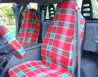 1 Set of Abbey Red Plaid Print, Seat Covers and the  Steering Wheel Cover  Custom Made.