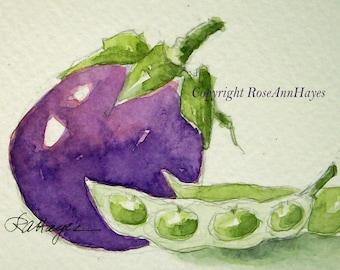 Original Watercolor Painting Eggplant Limas Vegetable Veggie Garden Still Life ACEO