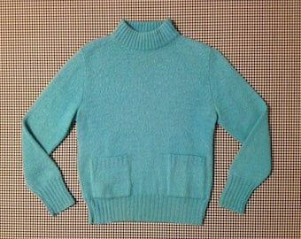 1960's, fuzzy, mohair and wool, mock turtleneck sweater, with front pockets, in wintermint, Women's size Medium