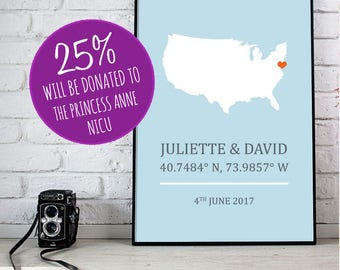 America Personalised Engagement Wedding Print - USA New York 8x10 inches