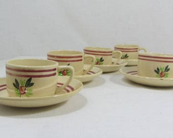 5 French coffee cups & saucers, Gien France, Gien hand painted cups, vintage coffee set, floral cups, cream coffee cups, French vintage,