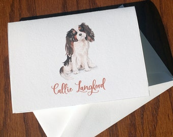 Cavalier King Charles Spaniel Personalized Stationery, great gift for dog lovers, stationery set, custom gifts for dog lovers