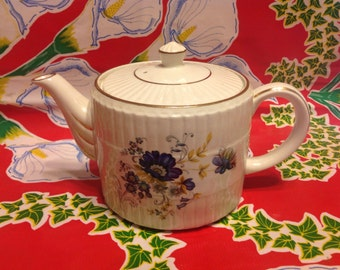 Vintage Ellgreave Wood and Sons ironstone teapot with floral designs-England
