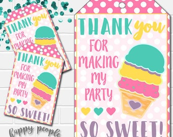 Ice Cream Favor Tags, Ice Cream Party Favor Tags, Ice Cream Thank You Tags, Ice Cream Birthday Party, Printable Ice Cream Tags, Sweet Party