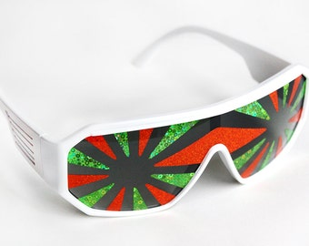 Rasslor Orange and Green Star Burst Shield Sunglasses