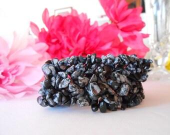 Stone Chip Bracelet | Snowflake Obsidian | Stone Bracelet | Woven Bracelet | Stretch Bracelet | Gemstone Bracelet | Boho | Bohemian | Black
