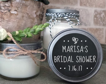 Soy Candle Wedding Favors - Set of 12 - 4 or 8 oz  - Wedding Favor Candles- Personalized Wedding Favors/Shower Favors/Chalkboard
