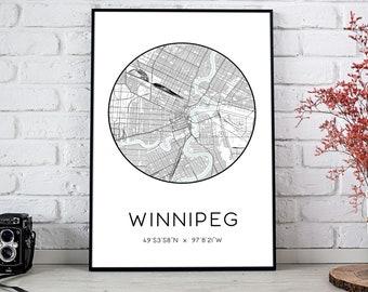 Winnipeg City Map Print   Winnipeg poster, Winnipeg map art, Winnipeg wall art print, Winnipeg gift, Winnipeg map print
