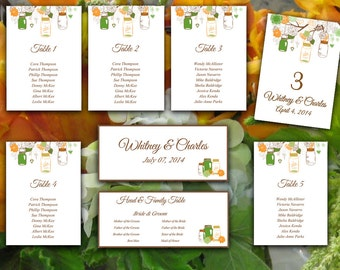 Wedding Seating Chart Template   Rustic Mason Jar Green Orange Chocolate Brown Word Template   Table Number Card   Wedding Download
