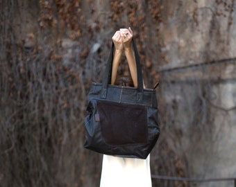 Tote Leather Bag / Large Leather Bag / Eco Bag / Sustainable Bag / Upcycle Leather Bag / Man Leather Bag / Woman Leather Bag /Dark Brown Bag