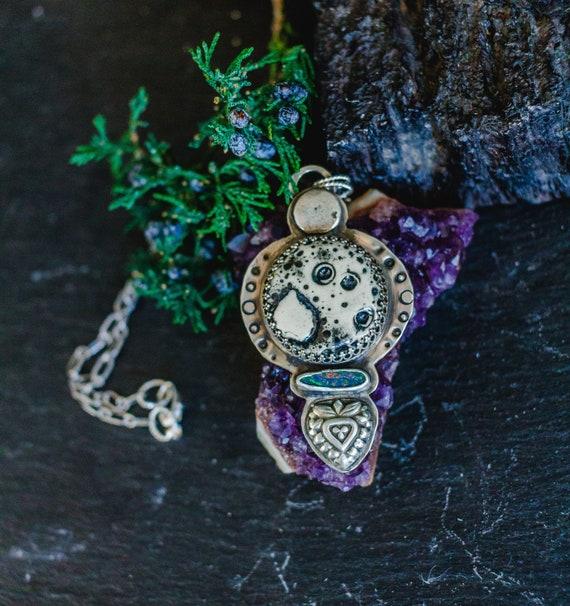 OOAK Boho Necklace, Sterling Silver Necklace, Australian Opal Necklace, Ceramic Moon Necklace, Handmade Necklace, Full Moon Necklace