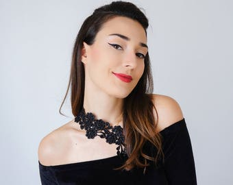 Black Lace Necklace Statement Necklace Jewelry Gold Necklace Girlfriend Gift Mom Gift For Her/ VARISA