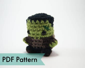 "PDF Pattern for Crocheted Frankenstein's Monster Amigurumi Kawaii Keychain Miniature Doll ""Pod People"""