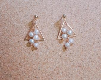 Freshwater Pearl Triangle Handmade Earrings