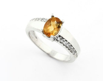Natural  Checkerer Cut Citrine  Solid 14K White Gold  Diamond Engagement Ring