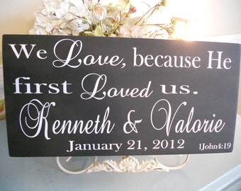Wedding Signs,Religious Personalized Wedding/Family sign with Bible Verse...You Choose the colors:)