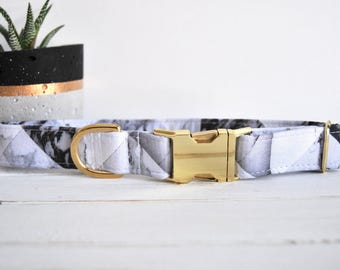 Marble Dog Collar, Black and White, Classic, Grey, Male Dog Collar, Boy Dog Collar, Gold Metal Buckle Dog Collar