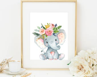 Elephant Print, Nursery Elephant Decor, Elephant Nursery Print, Baby Elephant Printable, Elephant Prints, Safari Nursery Prints, Animal Art