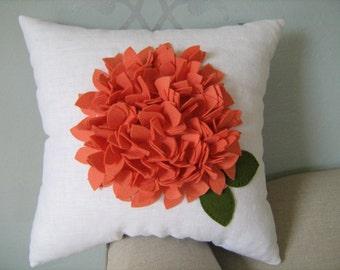 Hydrangea Pillow in Wool Coral Felt on White Linen