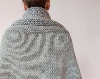 Chunky Wrap Sweater - Knit Sweater Wrap - Oversized Cocoon Sweater - Reading Sweater - Wool Wrap - Wool Cardigan Sweater - One Size
