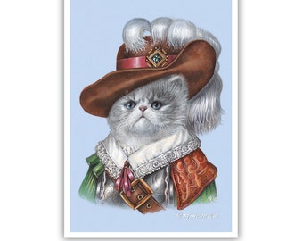 The Kitten Musketeer - Cat Art Print - Children Room Art - Cute Pet Paintings - Beautiful Cat Portraits by Maria Pishvanova