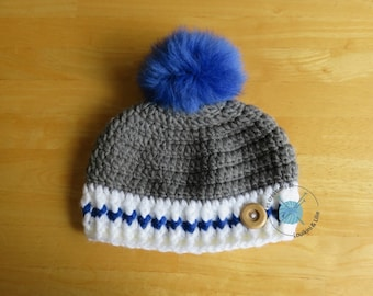 Hat sock boy with Pompom, baby, handmade, custom order.
