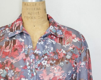vintage 70s Dove Gray and Rose Pink Trees and Flowers Printed Polyester Blouse
