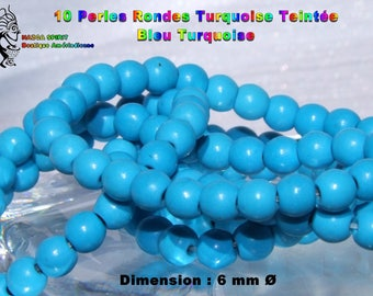 20 round beads Native American natural Turquoise 6 mm Turquoise Blue