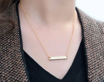 Personalized Bar Necklace • Name, Date, Number or Word • Handmade • Great Gift for Christmas, Bridesmaid, Birthday & for all Meaningful Day