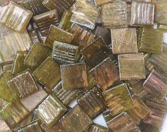 Vitreous glass mosaic tiles, 20x20 mm (3/4 inch),Semi-translucent, Olive