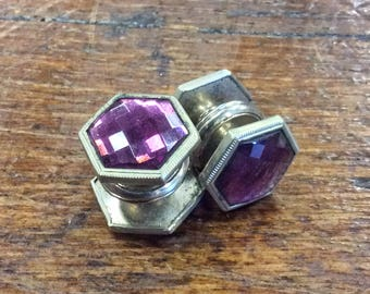 Vintage 1920s Kum-A-Part Kuff Buttons Silver Tone Button Cuff Links w/ Purple Cut Glass