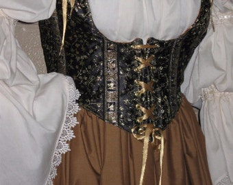 DDNJ Fully Reversible Corset Style Front Lace Underbust Bodice You Choose Plus cCustom Made ANY Size Fabrics Renaissance Pirate Anime Wench