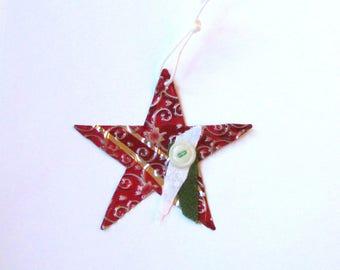 Red Star Ornament - Christmas Star - Metal Star Ornament - Recycled Metal Ornament - Eco Friendly Ornament - Christmas Ornament