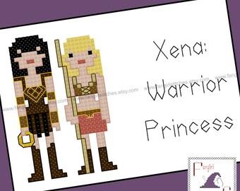 Xena Warrior Princess inspired Cross Stitch Pattern - PDF Pattern - INSTANT DOWNLOAD