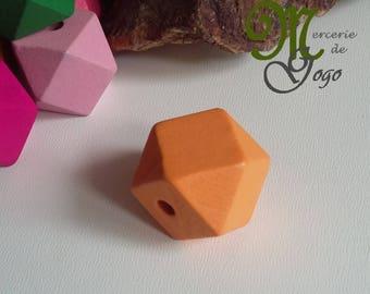 Color 2 * 2 cm orange hexagonal wooden bead.