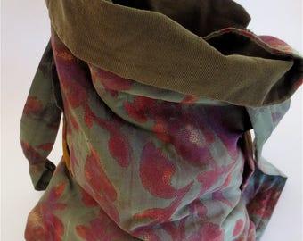 Comfy HOBO cross body bag, Olive Greens & Vine Roses