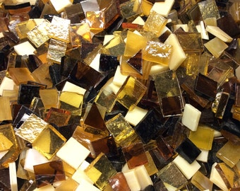 100 AMBER - ROOTBEER MIX Glass Tiles Odd Size Mosaic Supply B36
