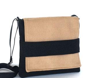 Small messenger bag, Black messenger bag ,Small crossbody bag , Women shoulderbag, Vegan travel purse, cross over purse, Handmade bags