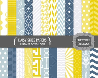 Digital Paper Pack Steel Blue and Mustard Yellow CU Ok