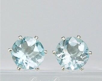 Sky Blue Topaz Stud Earrings Sterling Silver 8mm Round 4.80ctw