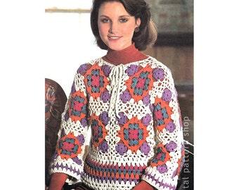 Granny Square Top Crochet Pattern Motif Overtop Crochet Top Pattern Womens Pullover Sweater Jumper Instant Download PDF Pattern- C193