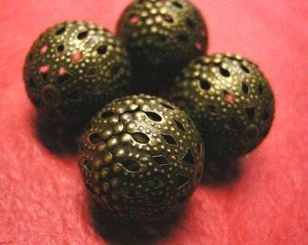 4pc 20mm antique bronze hollow flower bead-3568