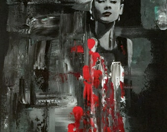 Audrey hepburn acrylic urban abstract realism figurative original painting in shades of black, white, grey and red