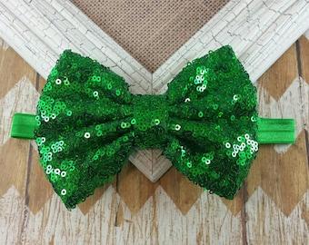 Green sequin bow headband, sequin bow headband, girls headband, sequin headband, Holiday headband, green headband, 5 inch sequin bow