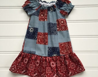 Cowgirl Dress, Toddler Dress, Girl Western Dress, Red Bandana, Girl Western Wear, Little Girl Dress, Girl Western Outfit, Country Dress