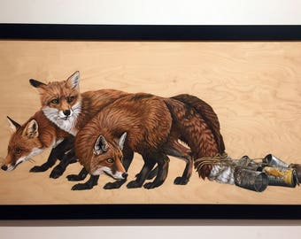 Just Married (Three Foxes) - original acrylic painting 2' x 4'