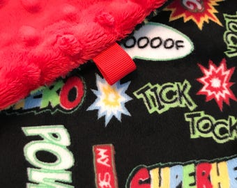 Minky Lovey Blanket Black Superhero  Comics Print Minky with Red Dimple Dot Minky Backing - great for a new baby